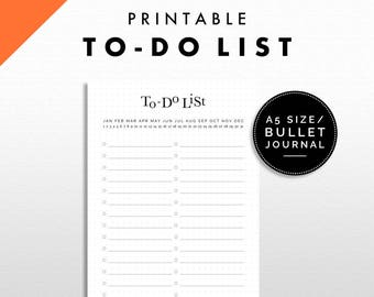 To do List Printable | Bullet Journal / A5 Size | Minimalist Design