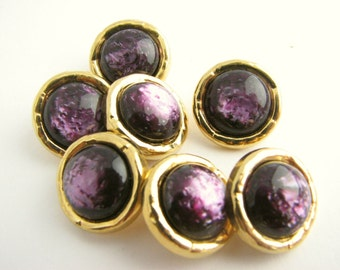 7 Gold tone metal buttons with purple centre, Small shank buttons, amethyst imitation, 15 mm or 18 mm, unused!!