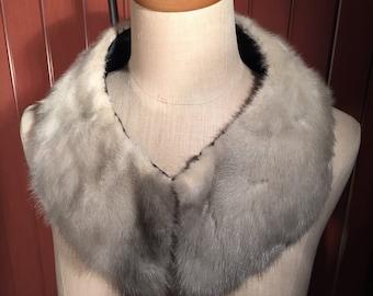 Mid Century Gray Mink Fur Collar, Genuine Fur, Satin Lined