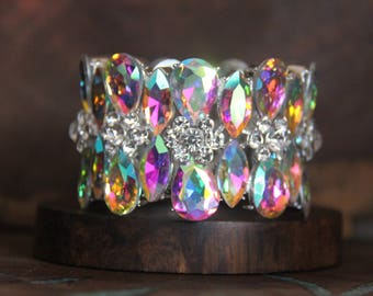 ab rhinestone bracelet, ab stretch bracelet, ab wide pageant bracelet, aurora borealis bracelet, iridescent bracelet, ab prom bracelet
