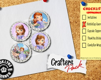 Sofia the First Inspired - Crafters Pack - Set of 4 Flattened Bottle Caps - For Crafting, Hair Bows, Pendants, Magnets