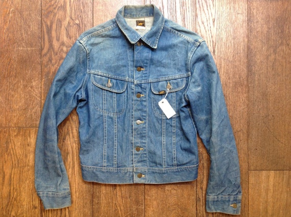 "Vintage 1970s 70s Lee 101 blue denim jacket trucker workwear 42"" chest Union Made in USA"