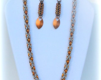 Chainmail Necklace Byzantine weave