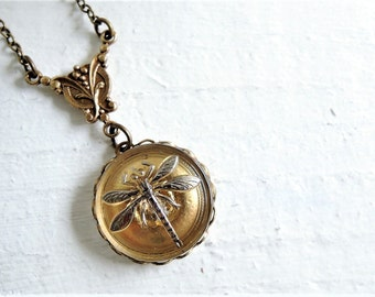 Gold Dragonfly Necklace Nature Jewelry Vintage Style Pendant Bohemian Style Necklace Czech Glass Button Silver Gold Dragonfly Necklace