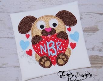 Valentine Puppy with Heart Applique, Machine Embroidery Design, Monogram, Valentines day, Boy Valentine, Girl Valentine, 4x4, 6x6, 7x7