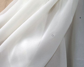 Ivory Chiffon Shawl Wrap with Rhionestones