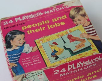 Playskool match-up game educational puzzle people and their jobs vintage learning game vintage graphic art stock art matching game learning