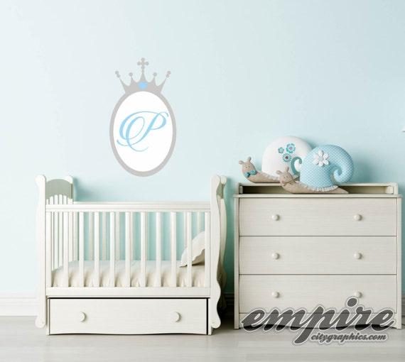 Princess Crown Mirror Decal, Princess Monogram, Crown Monogram Decal, Personalized Monogram Wall Decal