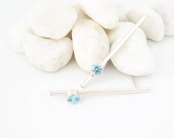 Silver Aquamarine Earrings / Birthstone Earrings / Silver Bar Earrings / Mothers Earrings / March Birthstone Earrings
