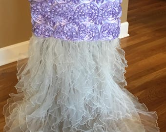 Chair Cover for Bridal Shower and Wedding Lavendar Purple with White Ruffles