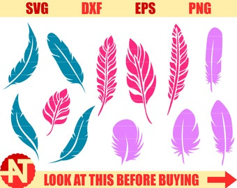 Feather SVG Feather Dxf Feather cut file svg files for Cricut Silhouette Cricut cut file Silhouette svg dxf eps png