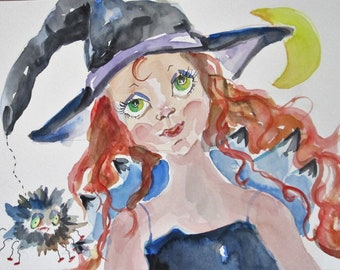 Halloween witch spider figurative watercolor painting Art by Delilah