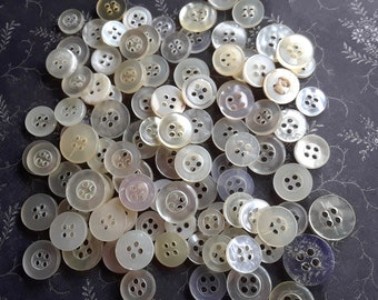 Assorted Plastic Buttons - 100 CLEARANCE Buttons - White Clear Mix - Destash Button Mix - Collage Scrapbooking Assemblage Art