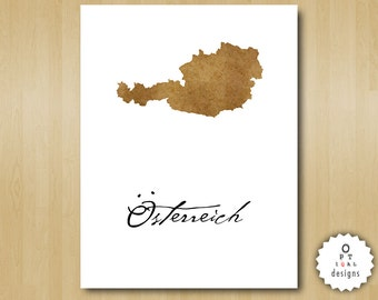Austria Wall Art - Print Your Home Country Map Art - Printable INSTANT DOWNLOAD
