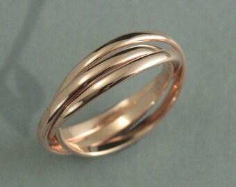 14K Rose Gold Rolling Ring--Rose Gold Wedding Band--Women's Wedding Ring--Russian Wedding Ring--Rose Gold Interlocking Ring--Wedding Band