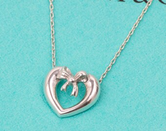 1991 Tiffany & Co. Vintage Heart and Bow Pendant Necklace // 925 Sterling Silver // 18 Inch // With T and Co Gift Box