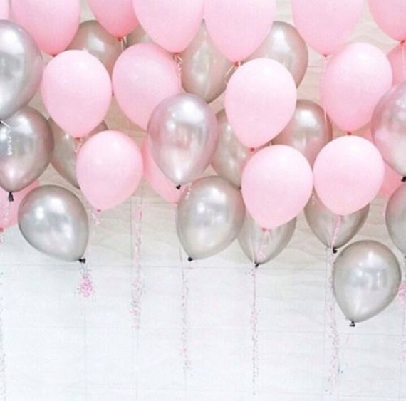 Pink And Silver Baby Shower Balloons One Year Old Pink