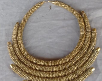 Round Golden beaded necklace