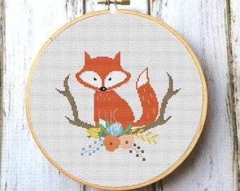 Fox cross stitch pattern Baby Cross Stitch Pattern Modern Cross Stitch Pattern Red fox PDF Nursery Woodland animals Embroidery pattern X176