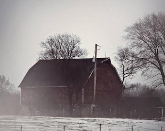 Farmhouse Decor Red Barn in Fog Winter Scene, Red, White, Black, Rustic Decor, Gift, Fpoe,