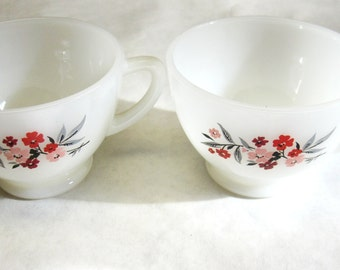 White Coffee Cup White Set of Two Tea Mug Pink Red Flower