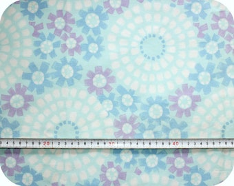 Floral retro vintage fabric - blue, white and purple