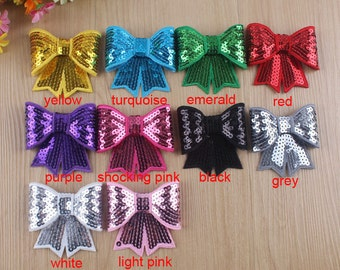 Set of 20 sequin appliques, wholesale 3''sequin Bow Knot Applique baby accessories-sequin-custom sequin for sewing craft-10 colors to choose