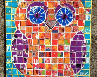upcycled owl mosaic made from gift cards