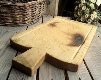 Wood Cutting Board - Meat Cutting Board - French Chopping Block - Vintage Bread Board - Rustic Kitchen - French Kitchen - Farmhouse Decor