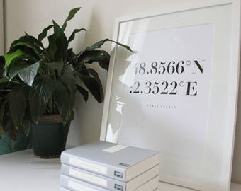 Paris Print, Black and White Art, Travel Poster, Typographic Print, Latitude Longitude Art, Home Decor Wall Art, Location Print Large