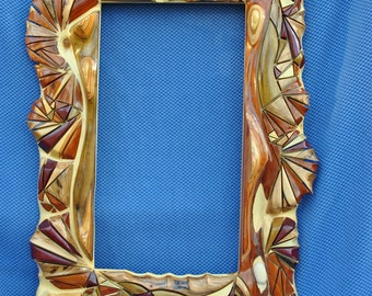 Sculpted wood mosaic mirror/ picture frame
