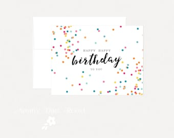 Confetti Happy Birthday Card