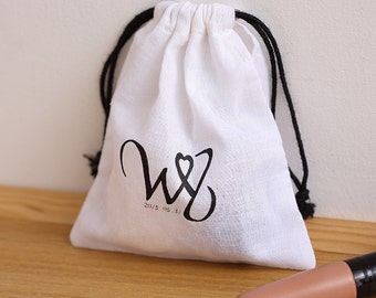 personalize bag Custom  wedding favor bag ultra-thin super white cotton bag Muslin bag- xyhk12