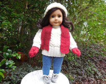 Hand knitted outfit consisting of sweater, pant/leggings, hat mittens, scarf, and football hat made to fit American Girl or  similar  dolls.