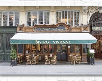 Paris Photography on Canvas - Bistrot Vivienne (Horizontal), Gallery Wrapped Canvas, Architectural Urban Home Decor, Large Wall Art