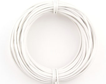 White Round Leather Cord 1.5mm, 10 meters (11 yards)