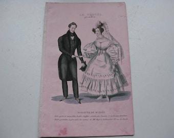 """Antique fashion drawing  """"toilette de mariée"""" 1880-1890."""