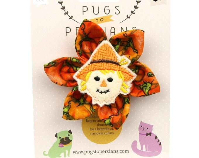 Autumn Dog Bow - Scarecrow on Pumpkins - Flower - Collar Blossom - Medium Size