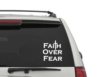 Faith Over Fear Car Decal / Car Decal / Faith / Car Sticker / Bible Decal / Jesus Decal / God Decal / Jesus Car Sticker / Bible Sticker