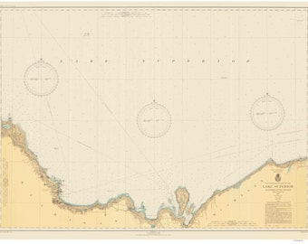 Grand Marais to Big Bay Point - 1943 - Lake Superior, Michigan - Nautical Map Reprint  - Harbor  9-93