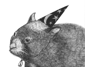 Wombat in a Wizard's Hat ORIGINAL illustration for inktober 2017 black ink on paper  6 x 6