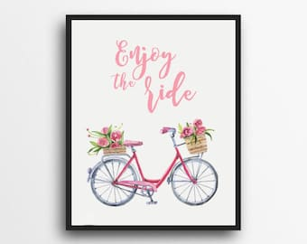 Enjoy The Ride Print | Bicycle Decor | Watercolor Bicycle Print | Watercolor Wall Art | Digital Download