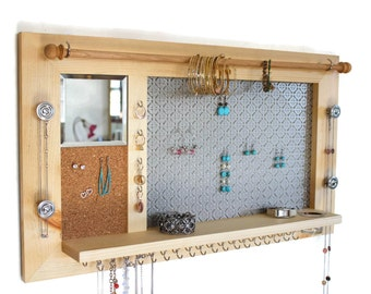 Natural Wood Jewelry Organizer - Wall hanging Jewelry Shelf and Display