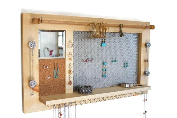 Natural Wood Jewelry Organizer Wall hanging Jewelry Shelf