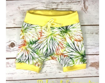 Short jersey Lily and lemon yellow water lilies shortpants