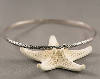 Floral Patterned Sterling Silver Stacking Bangle, Solid Silver Bangle, Victorian Style Bangle, Floral Bangle, Stackable Bangle,