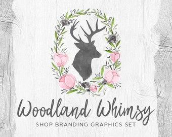 Rustic Deer Shop Branding Banners, Avatar Icons, Business Card, Logo Label + More - 13 Premade Graphics Files - WOODLAND WHIMSY