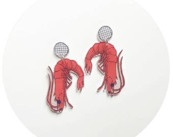 Prawn Plastic Stud and Dangle Earrings