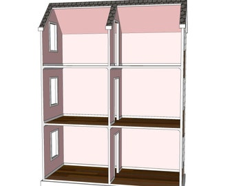american girl doll house plans. Doll House Plans For American Girl Or 18 Inch Dolls - 6 Room Veritcal NOT