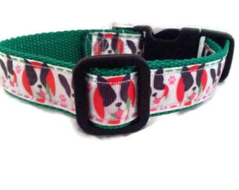 Dog Collar  * BOSTON TERRIER * Adjustable Buckle Collar* Adjustable Harness*